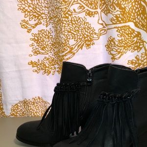 Sbicca Black Fringe Zepp Platform Ankle Wedge Boot